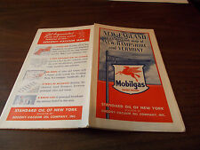 1939 Mobil New England Vintage Road Map with detailed Maps of NH and VT