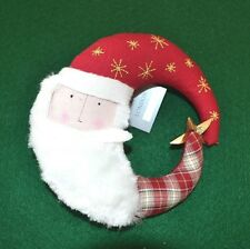 Gisela Graham Fabric Santa Moon Head Christmas Tree Topper - 14 cm