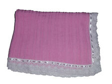 Edgehill Collection knit Baby blanket - Pink W White Lace