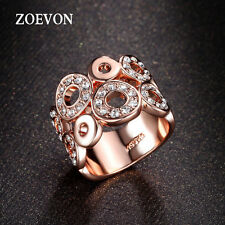 Women Rhinestone Hollowed Wedding Band Engagement Ring Gold Plated Party Jewelry