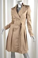 FAY Womens Classic Tan Khaki Cotton Twill Belted Trench Coat Jacket M NEW