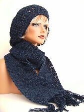 NEW NAVY BLUE DENIM TWIST RASTA HAT AND SCARF SET BERET CLOCHE BAGGY SLOUCHY