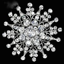 Large Size Silver Plated Clear Rhinestone Crystal Vintage Wedding Brooch Pin C18