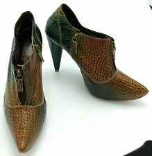 CARMEN STEFFENS Teal Brown Leather Animal Print Leather Booties Women 37 Shoe