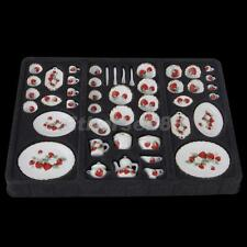 46pcs STRAWBERRY Dining Ware Porcelain Tea Set for 1:12 Doll House Miniature