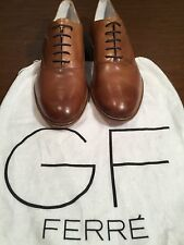 Mens GF FERRE Light Brown Leather Oxfords Dress Shoes Size 9 Made in Italy