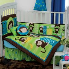 New Baby Boys DANY JUNGLE MONKEY Green Brown Nursery Crib Bedding Set 10 Pieces