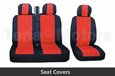 2+1 Front Seat Covers + Headrest Black / Red FOR OPEL VAUXHALL VIVARO MOVANO