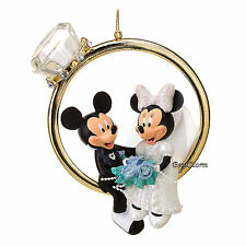 2016 Disney Store Mickey & Minnie Mouse Married Wedding RING Christmas Ornament