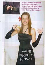 LADIES~LONG FINGER-LESS LACY GLOVES KNITTING PATTERN~ (BP 11)