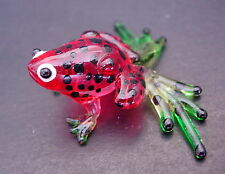 Glass FROG Red & Black Spotted Frog Painted Glass Animal Glass Ornament Figurine