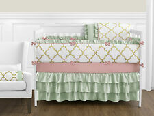 Luxury Coral Mint Ruffle Trellis Gold Geometric Girl 9 PC Baby Bedding Crib Set