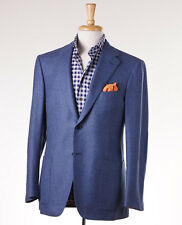 NWT $3295 D'AVENZA Slate Blue Wool-Cashmere Sport Coat 46 R Suede Elbow Patches
