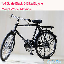 "1/6 Doll Scene Accessories Black Bike/Bicycle Model Wheel Movable F 12"" Figure"