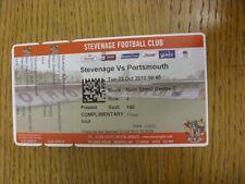 23/10/2012 BIGLIETTO: Stevenage v Portsmouth BIGLIETTO [Rosso] (completo). grazie per vi