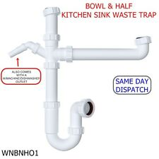 40mm BOWL & HALF KITCHEN SINK WASTE TRAP STANDARD KIT SET WITH 76mm WATER SEAL