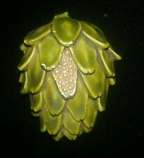 HAR COSTUME SIGNED JEWELRY PIN AVACADO FRUIT PIN GREEN ENAMEL SMALL FAUX PEARLS