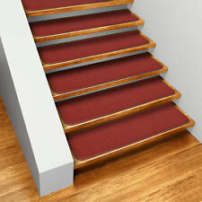 "Set of 15 SKID-RESISTANT Carpet Stair Treads 8""x23.5"" BRICK RED runner rugs"