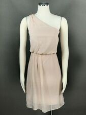 ADRIANNA PAPELL Blush Cocktail Dress Sz 14 Chiffon Beaded One Shoulder Tiered