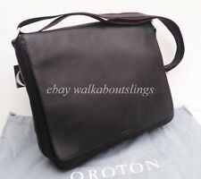 Oroton Men Handbag Bag Messenger Chrysler Large Satchel Leather Brown RRP$495