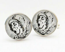 THE MAD HATTER Alice In Wonderland Silver Tone MENS CUFFLINKS Great Gift - C142