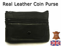 Ladies Kids Mens Genuine Real Leather Small Coin Card Wallet Pouch Purse