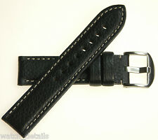 Hadley Roma Black Calf Leather Band for Panerai Watch - 22mm 120/80 USA Made