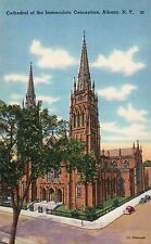 Cathedral of the Immaculate Conception Albany New York NY Vintage Linen Postcard