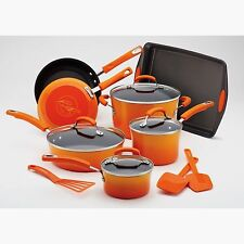 Rachel Ray Porcelain Nonstick 14 pc Cookware Set NIB Orange Pots Pans Kitchen
