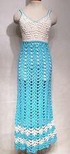 Vintage 70s Blue Crochet Knit Dress Hippie Maxi Sheer Boho Sleeveless Small S