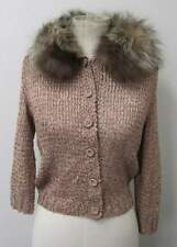 FOX Fur COLLAR Vintage KNIT Wool Blend SWEATER Bolero RIBBON Rose CARDIGAN XS S