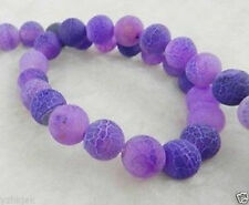 10mm Purple Dream Fire Dragon Veins Agate Round Gems Loose Beads 15""