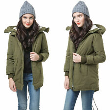 Fleece Hooded Coat Womens Overcoat Jacket Trench Warm Parka Winter Long Outwear