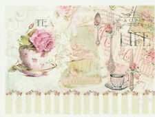Rice Paper Decoupage Scrapbook Sheet Craft Vintage Cup of Tea