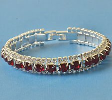 Nice Around Red Ruby crystal 9K White Gold Filled Womens Bracelet F6085