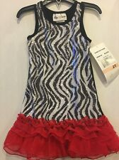 Rare Editions Girls Dress Size 2T Zebra Pattern With Red Ruffle NWT Very Pretty