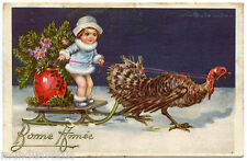 ILLUSTRATEUR COLOMBO. PETITE FILLE. LITTLE GIRL. DINDE. TURKEY. TRAINEAU. SLED.