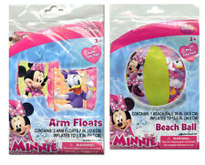 Disney Minnie Mouse Daisy Set - Kids Swim Arm Bands Floats + Pool Beach Ball Toy