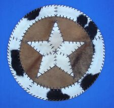 "Western Cabin Lodge Decor Cowhide 27"" Round Rawhide Laced Throw Rug/Wall Hanging"