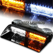 High Power 16 Amber&White LED Emergency Warning Flash Strobe Light Dashboard C08