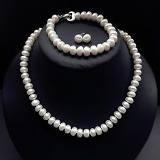 Genuine Cultured Freshwater 9-10mm Pearl Necklace Bracelet Earring set
