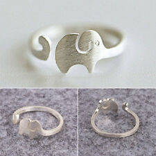 Silver-Plated Cute Elephant Animal Adjustable Ring Girls Kid  Lovely