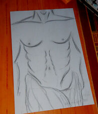 sexy hot male man nude erotic drawing  original charcoal pencil A4 by artist