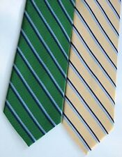 IZOD Striped Neck Tie All Silk Kelly Green Pale Yellow Navy Stripes Lot 2 NWOT