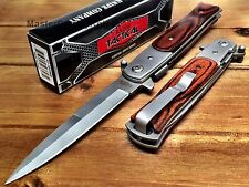 Spring Assisted Tactical STILETTO Folding Pocket Knife with Seat belt Cutter-WD