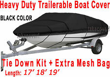 V-Hull Fish Ski 17' 18' 19' Boat Trailerable Cover TC Black Color All Weather