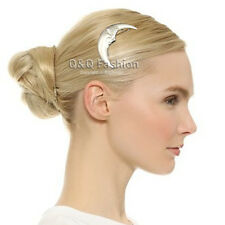Festival Occult Moth Silver Crescent Moon Face Hair Pin Clip Dress Snap Barrette