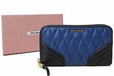 NWT Miu Miu Inchiostro Nero Quilted Leather Biker Portofoglio Zip Around Wallet