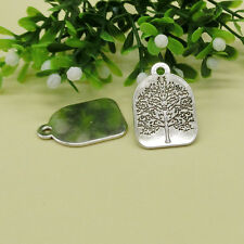 5 Tree of Life Rectangle Charms Pendants Plate Bar Charm Antique Silver Finding