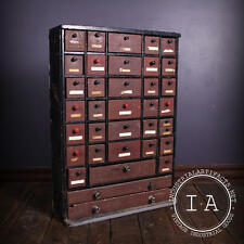 Vintage Industrial Depression Era 36 Drawer Handmade Wooden Small Parts Cabinet